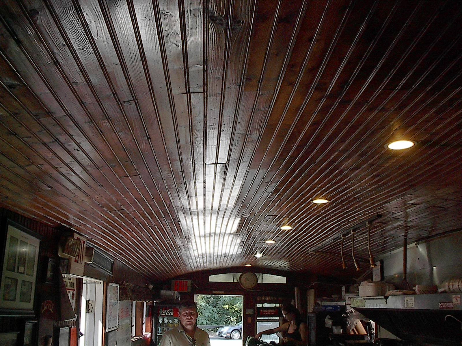 Winsted Diner - This now-old slat ceiling replaced the original braced metal ceiling.