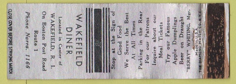 Wakefield Diner - Matchbook